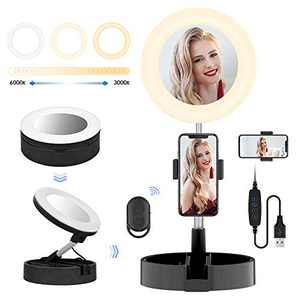 Foldable Selfie Ring Light Box with Phone Holder for YouTube Video, Dimmable Desk/Stand LED Ring Light for Photography, Shooting, Stream, Tiktok, Selfie 2020 New Version - Black Basic (6.7 inch)