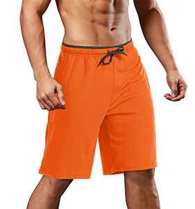 EKLENTSON Biker Shorts for Men Running Ultra Soft Slim Fit Performance Shorts Orange