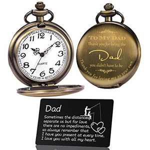OyeahO Pocket Watch, Pocket Watch for dad, Vintage Quartz Pocket Watch with Chain, Dad Gifts for Fathers Day Birthday Gifts Christmas Father in Law, Stepfather