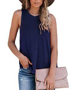 Eanklosco Womens Tops Sleeveless Summer Basic Tee Shirts Tank Tops Beach Blouses Royal Blue