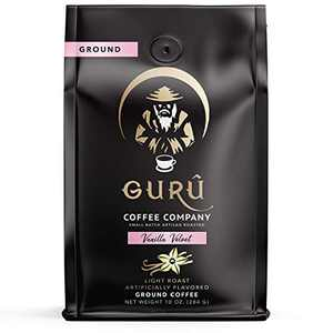 Guru Coffee Company Ground Coffee Light Roast, French Vanilla Velvet Flavored Coffee - Small Batch Artisan Roasted & Responsibly Sourced From Gourmet Specialty Grade Beans, 10 ounce