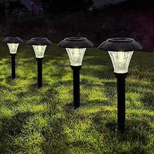 LANSGARINE Path Lights Solar Powered, High Lumens Waterproof outdoor Solar Lights Pathway, Landscape Lights for Garden, Lawn, Patio, Yard, Walkway, Driveway(Warm White,6 Pack)