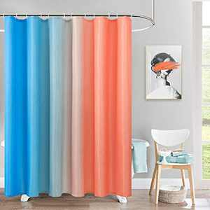 BGment Fabric Ombre Shower Curtain Sets with 12 Hooks for Bathroom Waffle Weave Waterproof Gradient Bath Curtain (72 x 78 inch, Orange and Blue)