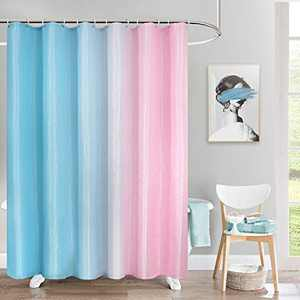 BGment Fabric Ombre Shower Curtain Sets with 12 Hooks for Bathroom Waffle Weave Waterproof Gradient Bath Curtain (72 x 96 inch, Baby Pink and Baby Blue)