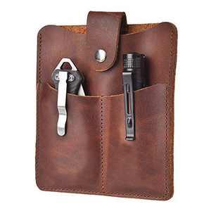 EDC Pocket Organizer Pouch, Full Grain Genuine Leather Holster Sheath 3 Pockets Slip Carriers for Flashlight/Multi Tool/Passport/Cash/Knives (Brown)
