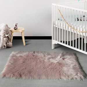HAOCOO Faux Fur Runner Rug Pink Shag Chair Coach Covers 2'x 4' Fluffy Wool Sheepskin Area Rug Soft Throw Rugs Rectangle Floor Carpet for Bedroom Sofa Bedside Nursery Home Decor