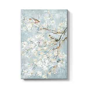 takfot Rustic Wall Art Flower Painting Blue Picture Nature Floral Print Birds on Tree Farmhouse Artwork Modern Home Decor Ready to Hang for Bathroom Living Room Bedroom 16x24 Inch