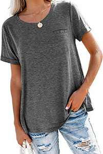Yidarton Women's Casual Roll Up Short Sleeve T Shirts Crew Neck Tops Basic Short Sleeve Soft Blouse Gray S