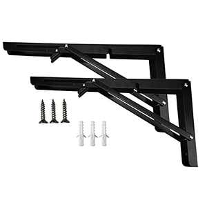 U-BCOO Folding Shelf Bracket 16 Inch Heavy Duty Triangle Table Bench Folding Shelf Hinge DIY Space-Saving Wall-Mounted Shelves Workbench (16 Inch Black)