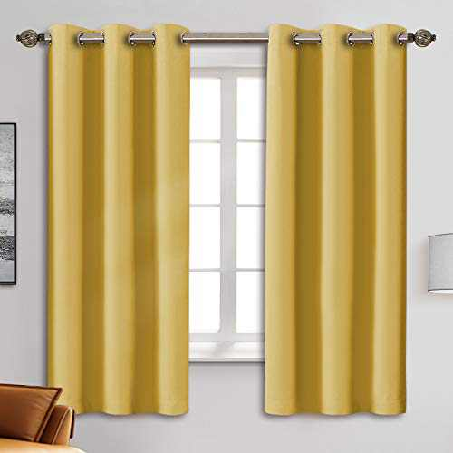 "Blackout Curtain Panels - Grommets Blackout Thermal Insulated Curtains, Draperies for Bedroom、Living Room Windows(Yellow, 2 Panels, 42"" W x 63"" L)"