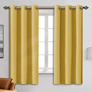 """Blackout Curtain Panels - Grommets Blackout Thermal Insulated Curtains, Draperies for Bedroom、Living Room Windows(Yellow, 2 Panels, 42"""" W x 63"""" L)"""