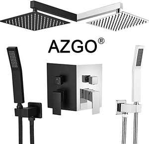 """AZGO Rainfall Shower Systems(10"""", Matt Black),Rainfall Shower Head System with Handshower,Shower Faucet Rough-in Valve Body and Trim Included"""