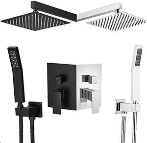 """AZGO Rainfall Shower Systems(10"""", Chrome),Rainfall Shower Head System with Handshower,Shower Faucet Rough-in Valve Body and Trim Included"""