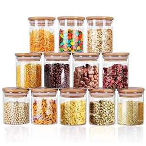 Glass Jars Set 8oz, Yibaodan 12 Set Spice Jars with Bamboo Airtight Lids and Labels, Food Cereal Storage Containers for Home Kitchen Tea Herbs Coffee Flour Herbs Grains