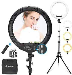 WISAMIC Ring Light 18 inch with Stand and Phone Holder, Bi-Color Dimmable 2800K-6000K, LED Ring Light with Remote for Camera Makeup Self-Portrait YouTube Video Photography Shooting