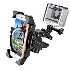 Bike Phone Mount, Adjustable Motorcycle Bike Phone Holder, Compatible with Gopro Cameras, 360° Rotation Cradle Clamp for Any Smartphones GPS Other Devices Between 4 and 6.5 inches