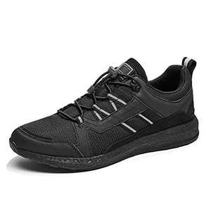 Men's Lightweight Road Running Shoes Breathable Slip-On Fashion Sneakers Antislip Walking Casual Sports Shoe Black
