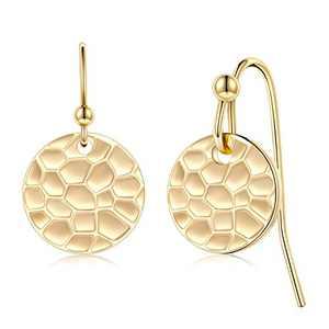 Circle Dangle Earrings, 925 Sterling Silver Post 14K Gold Filled Hammered Disk Earrings Dainty Disc Circle Dangle Drop Earrings Jewelry for Women Girls