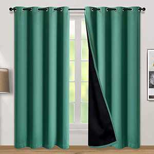 100% Double-Layer Blackout Curtains Home Decoration Thermal Insulated Solid Grommet Blackout Curtains Drapes for Living Room Bed Room (Set of 2, W52 x L95, Hunter Green)