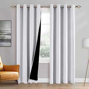 100% Double-Layer Blackout Curtains Home Decoration Thermal Insulated Solid Grommet Blackout Curtains Drapes for Living Room Bed Room (Set of 2, W52 x L95, Pure White)