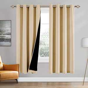 100% Double-Layer Blackout Curtains Home Decoration Thermal Insulated Solid Grommet Blackout Curtains Drapes for Living Room Bed Room (Set of 2, W52 x L72, Biscotti Beige)