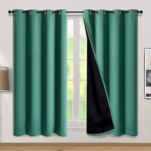 100% Double-Layer Blackout Curtains Home Decoration Thermal Insulated Solid Grommet Blackout Curtains Drapes for Living Room Bed Room (Set of 2, W52 x L72, Hunter Green)