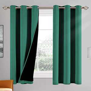 100% Double-Layer Blackout Curtains Home Decoration Thermal Insulated Solid Grommet Blackout Curtains Drapes for Living Room Bed Room (Set of 2, W42 x L63, Hunter Green)