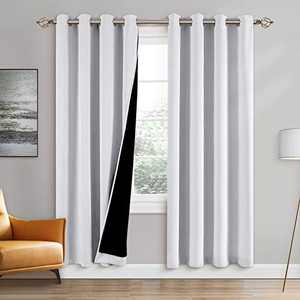 100% Double-Layer Blackout Curtains Home Decoration Thermal Insulated Solid Grommet Blackout Curtains Drapes for Living Room Bed Room (Set of 2, W52 x L84, Pure White)