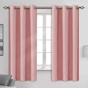 """Blackout Curtain Panels - Grommets Blackout Thermal Insulated Curtains, Draperies for Bedroom、Living Room Windows(Baby Pink, 2 Panels, 42"""" W x 63"""" L)"""