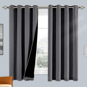 100% Double-Layer Blackout Curtains Home Decoration Thermal Insulated Solid Grommet Blackout Curtains Drapes for Living Room Bed Room (Set of 2, W52 x L63, Grey)