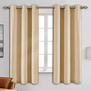 """Blackout Curtain Panels - Grommets Blackout Thermal Insulated Curtains, Draperies for Bedroom、Living Room Windows(Biscotti Beige, 2 Panels, 42"""" W x 63"""" L)"""