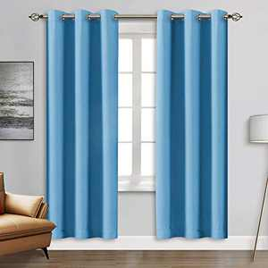"""Blackout Curtain Panels - Grommets Blackout Thermal Insulated Curtains, Draperies for Bedroom、Living Room Windows(Blue, 2 Panels, 42"""" W x 84"""" L)"""