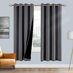 100% Double-Layer Blackout Curtains Home Decoration Thermal Insulated Solid Grommet Blackout Curtains Drapes for Living Room Bed Room (Set of 2, W52 x L72, Grey)