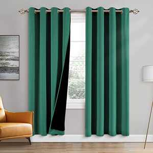 100% Double-Layer Blackout Curtains Home Decoration Thermal Insulated Solid Grommet Blackout Curtains Drapes for Living Room Bed Room (Set of 2, W52 x L84, Hunter Green)