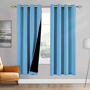 100% Double-Layer Blackout Curtains Home Decoration Thermal Insulated Solid Grommet Blackout Curtains Drapes for Living Room Bed Room (Set of 2, W52 x L72, Teal Blue)
