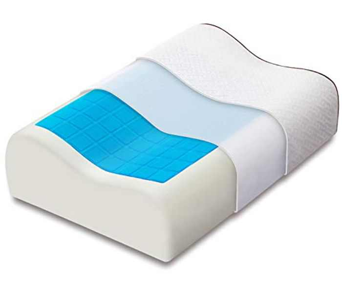 Ecosafeter Contour Memory Foam Pillows with Cooling Gel - Heat Dissipating - Hypoallergenic Memory Foam Pillow for Support Side/Back/Stomach Sleepers,Washable & Breathable Bamboo