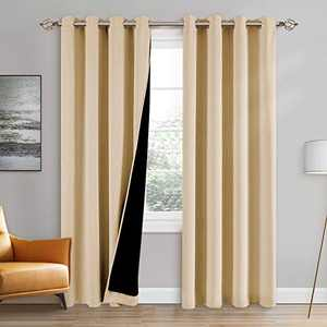 100% Double-Layer Blackout Curtains Home Decoration Thermal Insulated Solid Grommet Blackout Curtains Drapes for Living Room Bed Room (Set of 2, W42 x L63, Biscotti Beige)