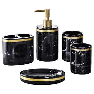 Shcasa Bathroom Accessory Set Complete,5 Piece Marble Pattern Bathroom Sets Accessories, Toothbrush Holder,Soap Dispenser,Soap Dish,Tumbler Cup,Resin Marble Pattern Bathroom Gift Set Ink Black