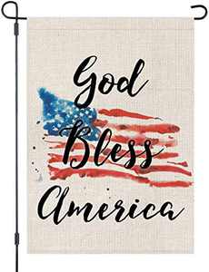 LOYOKI USA Flag Stars and Stripes God Bless America House Garden Flag Burlap Double Sided Yard Outdoor Decoration 12.5 x 18 Inch