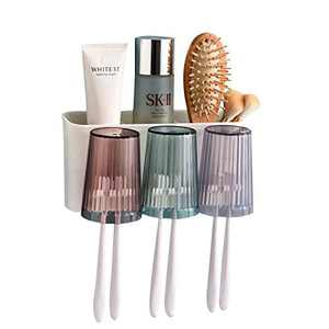 ecoco Toothbrush Holder Family Toothbrush Wall Holder 3 Cups for Kids Toothbrush Cover Wall Mounted Toothbrush Holders