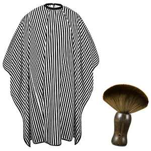Odewa Adult Professional Barber Cape and Neck Duster Brush Hair Coloring Cutting Haircut Capes Soft Hair Barber Brush Capes For Hair Stylist Barber Supplies for Men (Black and White Stripe)