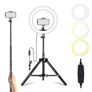 "Ring Light with Stand and Phone Holder,10"" Led Camera Ringlight for Live Stream/Makeup/YouTube Video, Compatible with iPhone/Android…"