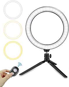 Ring Light with Tripod Stand, Oternal 10 Inches LED Ring Light for Phone, 3 Light Modes, 10 Brightness Levels, Adjustable Phone Holder, Ideal Accessory for Video, Streaming, Selfies, Make up