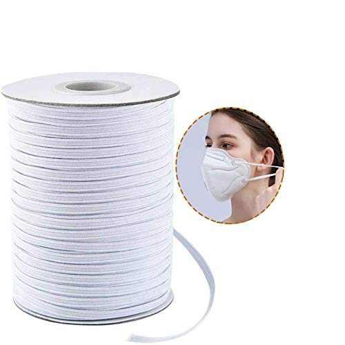 100 Yards 1/4 inch Wide Elastic String, Elastic Cord for Sewing, Flat Elastic Strap, Elastic Bands for Sewing DIY Crafts (White)