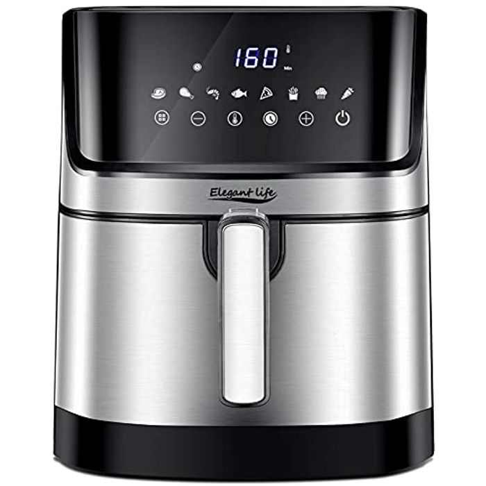 Air Fryer, Elegant Life XXL Electric Hot Air Fryer Oven with 8 Presets LED Touch Panel & 5L Non-Stick Air Frying Basket, 1-60 Mins Timer & 80-200℃ Temperature Control, 1700W, Black