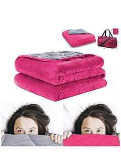 "Weighted Blanket (Dual Color, Gray and Fuchsia) for Adults, Queen Size, 60x80"", 20 lbs, Heavy Blanket with Premium Glass Beads 7 Layers Technology,Duvet and Oversized Carry Bag Included"