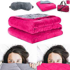 "Weighted Heavy Blanket (Gray/Magenta) for Adults, 60x80"", 20 lbs, Minky,7 Layers Technology, includes Duvet cover travel bag and Weighted Sleep Mask"