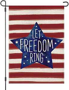 LOYOKI Let Freedom Ring USA American Pentagram Independent Day 4th of July House Garden Flag Burlap Double Sided Yard Outdoor Decoration 12.5 x 18 Inch