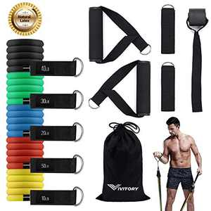 VIVITORY Exercise Resistance Band Set, Home Workout Bands for Fitness with Handles, Yoga Pilates, Exercise Workout Fitness Bands with Door Anchor Handles for Men & Women, 150 LBS/12 PCS