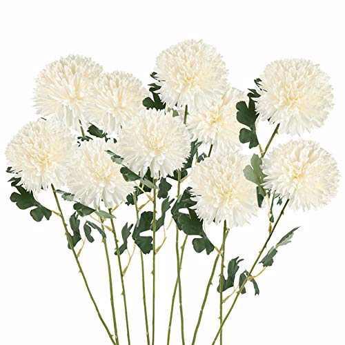Artificial Flowers Large Chrysanthemum Ball Silk Hydrangea Flowers Bouquet Single Stem 10pcs for Home Party Wedding Bridal Centerpieces Arrangements Garden Decor (Milk White)